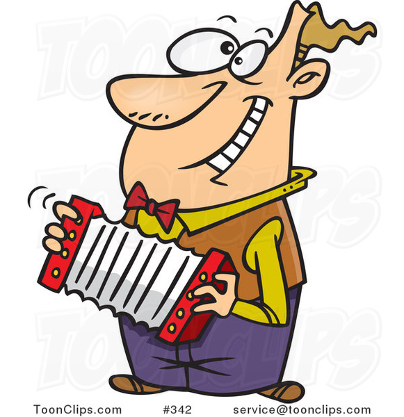 Happy Cartoon Guy Playing an Accordion