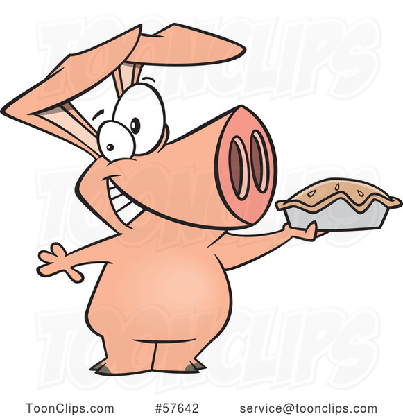 Happy Cartoon Pig Holding up a Pie