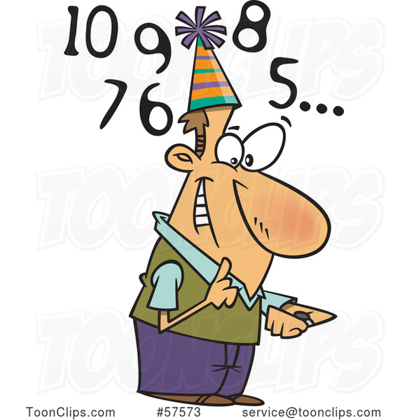 Happy Cartoon White Guy Counting down to New Year