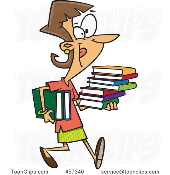 Happy Cartoon White Lady Carrying Books