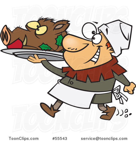 Happy Castle Cook Chef Carrying a Pig Head on a Platter Cartoon