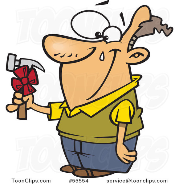 Happy Guy Shedding a Tear over a Hammer Gift on Fathers Day Cartoon