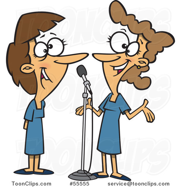 Happy Women Singing a Duet Cartoon