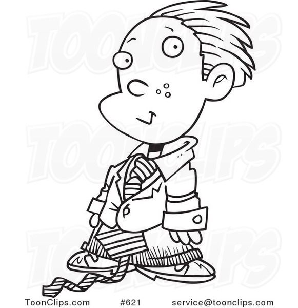 Line Art of a Cartoon Business Executive Boy Using a Magnifying Glass