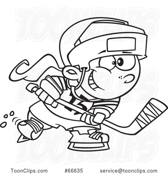 Lineart Cartoon Girl Playing Hockey
