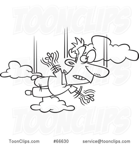 Lineart Cartoon Guy Falling and Taking a Leap of Faith