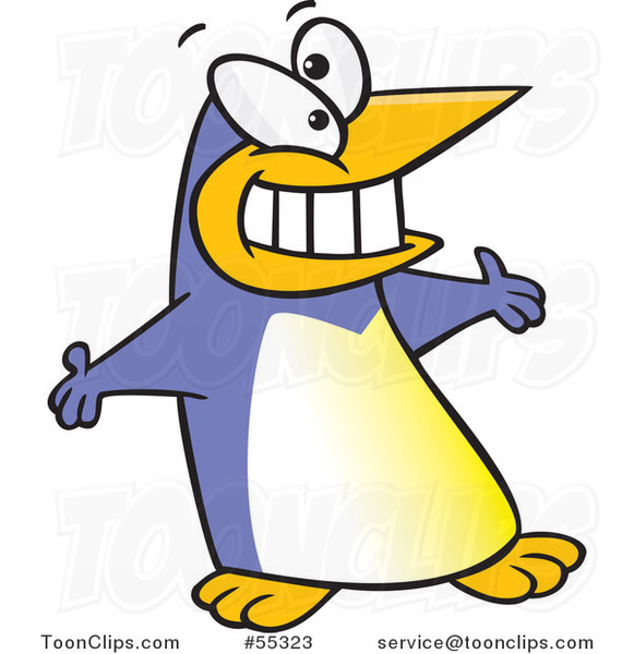 Periwinkle Cartoon Welcoming Penguin with Open Arms