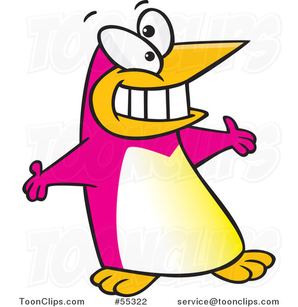 Pink Cartoon Welcoming Penguin with Open Arms