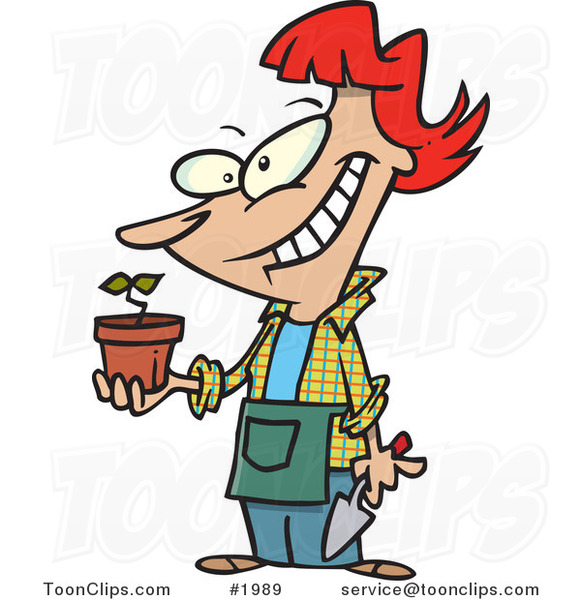 Pleased Cartoon Lady Showing Her Transplanted Plant