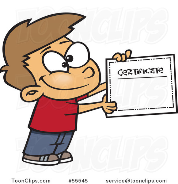 Proud White School Boy Holding a Certificate of Achievement Cartoon