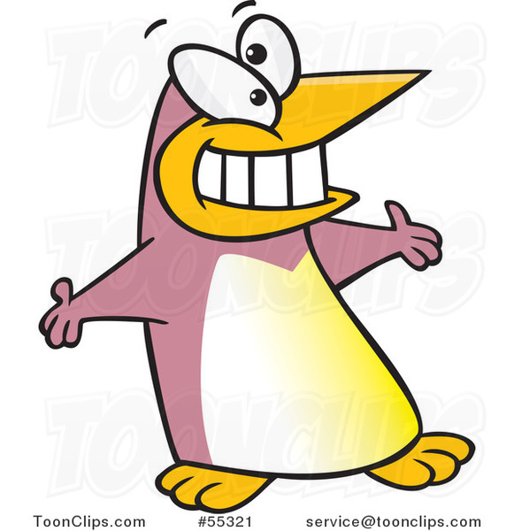 Puce Cartoon Welcoming Penguin with Open Arms