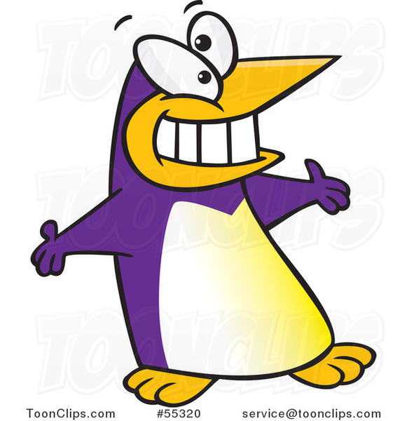 Purple Cartoon Welcoming Penguin with Open Arms