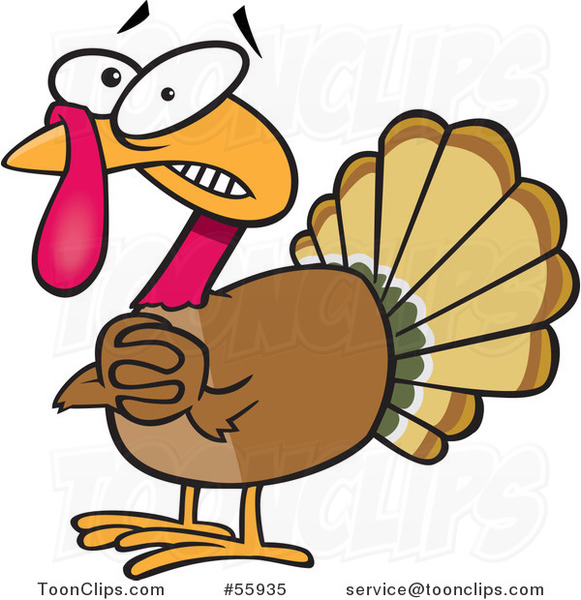 Scared Cartoon Turkey Bird Clasping His Hands