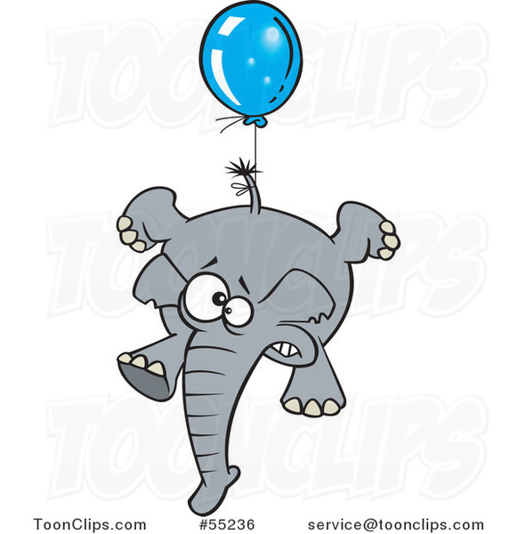 Scared Elephant Floating with a Blue Balloon Cartoon