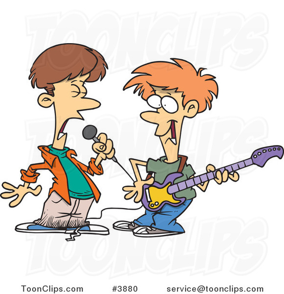 Two Cartoon Boys Singing and Playing a Guitar in a Band