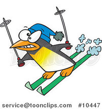 Cartoon Ski Penguin by Toonaday