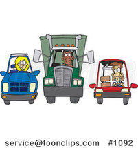 Cartoon SUV, Big Rig and Car at a Stop Light by Toonaday
