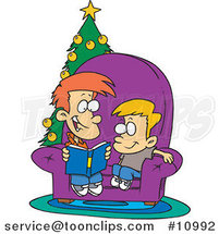 Cartoon Boy Reading a Christmas Story to His Little Brother by Toonaday