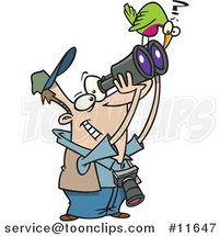 Cartoon Bird on a Guy's Binoculars by Toonaday