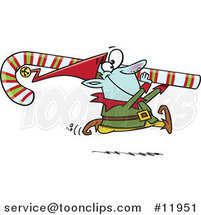 Cartoon Christmas Elf Carrying a Candy Cane by Toonaday