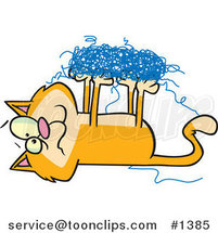 Cartoon Orange Cat Tangled in String by Toonaday