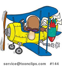 Cartoon Bomber Guy in a Biplane Preparing to Drop a Bomb by Toonaday