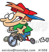 Cartoon Boy Riding His Trike by Toonaday