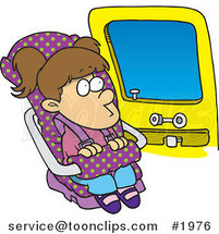 Cartoon Girl Sitting in Her Car Seat by Toonaday