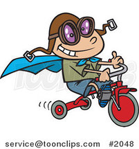 Cartoon Boy Wearing a Cape and Goggles While Riding His Trike by Toonaday