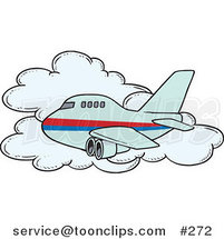 Cartoon Commercial Airliner Passing a Cloud in Flight by Toonaday