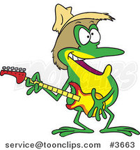 Cartoon Guitarist Frog Wearing a Straw Hat by Toonaday