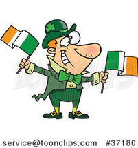 Cartoon Happy Irish Guy Leprechaun Waving Two Flags by Toonaday