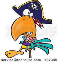 Cartoon Goofy Pirate Parrot with a Peg Leg by Toonaday