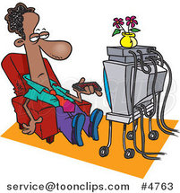 Cartoon Black Business Man Watching TV by Toonaday