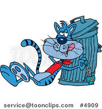 Cartoon Cat Eating a Luxurious Fish Bone from the Garbage by Toonaday