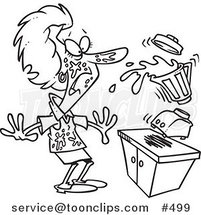 Cartoon Coloring Page Line Art Of A Lady Getting Splashed From Juice With Her Blender By