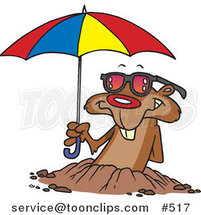 Cartoon Groundhog Emerging with Shades and an Umbrella by Toonaday