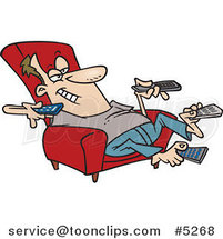 Cartoon Guy Sitting in a Recliner and Holding Many Remote Controls by Toonaday