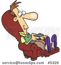Cartoon Guy Sitting in a Recliner and Watching Tv by Toonaday