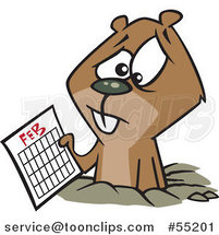 Cartoon Distressed Groundhog Holding a February Calendar by Toonaday