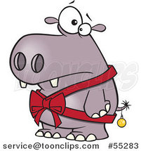 Cartoon Christmas Hippo in a Bow and a Bauble by Toonaday