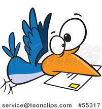 Cartoon Blue Bird Delivering Air Mail by Toonaday