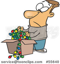 Cartoon White Guy Holding a Tangled Mess of Christmas Lights by Toonaday