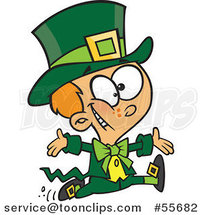 Cartoon St Patricks Day Boy Running in a Leprechaun Costume by Toonaday