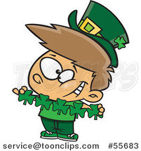 Cartoon St Patricks Day Leprechaun Boy with Paper Shamrocks by Toonaday