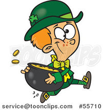 Cartoon St Patricks Day Leprechaun Boy Running with a Pot of Gold by Toonaday
