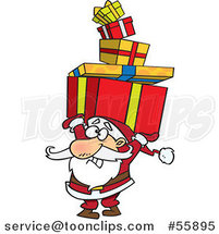 Cartoon Santa Holding a Stack of Christmas Gifts over His Head by Toonaday