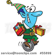 Cartoon Blue Christmas Elf Carrying Gifts on a Unicycle by Toonaday
