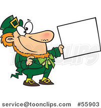 Cartoon Happy St Patricks Day Leprechaun Holding out a Sign by Toonaday
