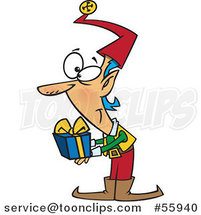 Cartoon Christmas Elf Holding out a Gift by Toonaday